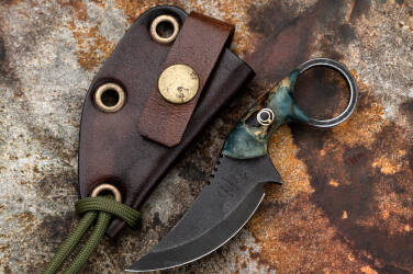 NECK KNIFE SULTAN STABILIZED WOOD BLACK PIN