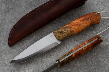 KNIFE BUSHCRAFT STABILIZED WOOD, MOSAIC PINS WITH BROWN LEATHER SHEATH