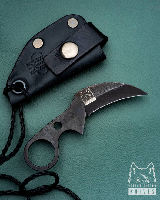 NECK, EDC SULTAN CLAW OXIDIZED NC6  BLACK LEATHER SHEATH PRUCIAK