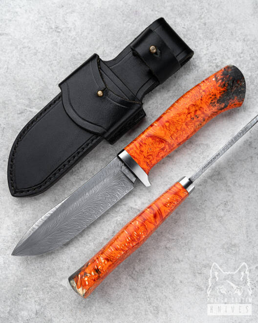 HUNTING KNIFE FEATHER DAMASCUS HUNTER
