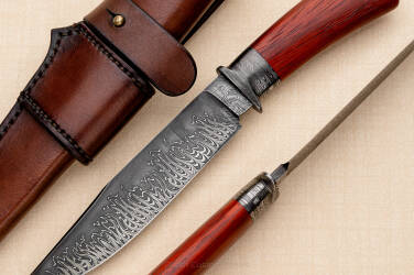 HUNTING KNIFE HOT ROD FLAME DAMASCUS BERNARD GORNY