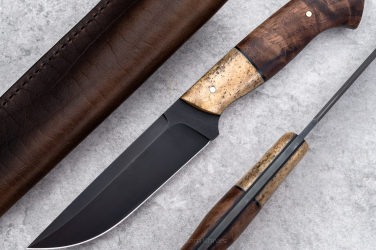 HUNTING KNIFE HUNTER V3 ELK BONE BRAZIL NUT, BROWN LEATHER ML TD
