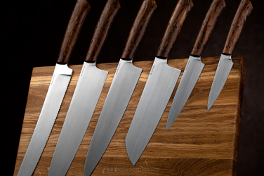 SET OF KITCHEN KNIVES WITH CUTTING BOARD M390 KARELIAN BIRCH