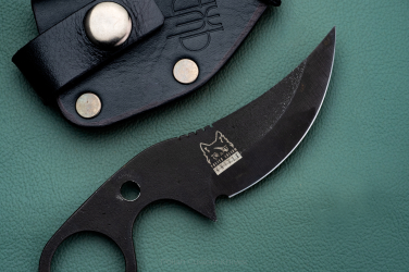 NECK, EDC KNIFE SULTAN+ OXIDIZED K110  BLACK LEATHER SHEATH PRUCIAK